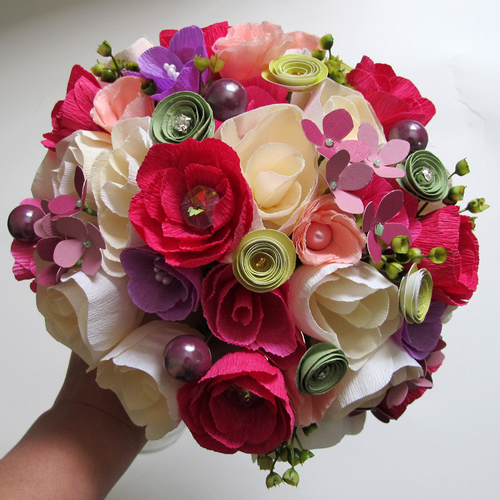 Букет невесты своими руками из гофрированной бумаги своими руками